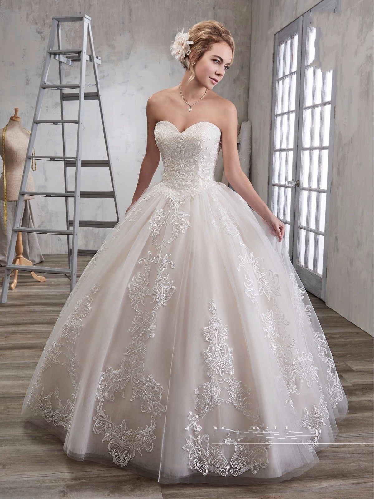 Sweet lace tulle ball wedding dress princess whiteivory bridal gown