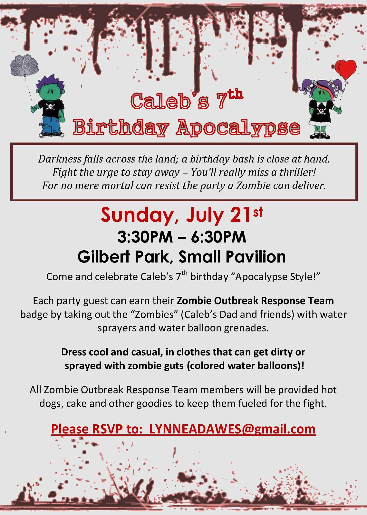 The invitation :)   Calebs 7th Bday (Zombies)   Pinterest