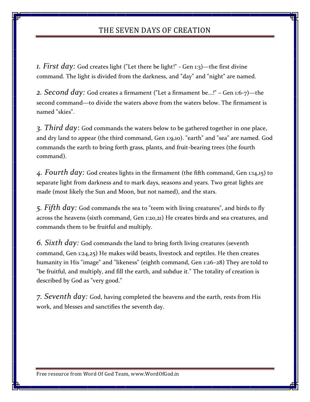 7-daysofcreation by yesudas.rs via Slideshare
