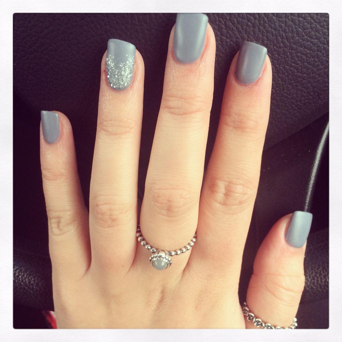 Matte grey acrylic nails | nails | Pinterest | Makeup, Nails games ...