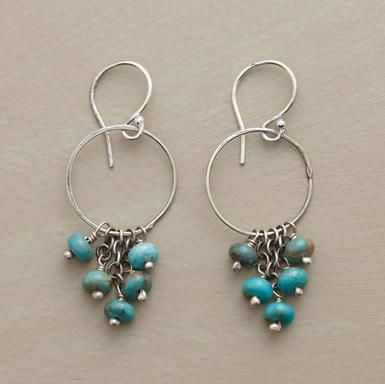 """Blue turquoise beads swing and sway on sterling silver hoops. Handmade in the USA. Exclusive. Color and matrix of stones will vary. 1-1/2""""L."""
