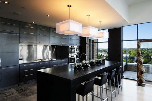 Contemporary Home Black Kitchen Table Design, Pictures, Remodel