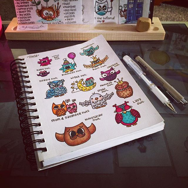Finally finished coloring them all. Will show you each one next. ☺️ #drawing #draw #drawings #doodle #illustration #illustrationgram #owl #owls #owlart #owldrawing #owlsketches #artwork #artistic #artsy #arts #artists #arte #cuteart #cute #handdrawn #handmade #sketchbook #jennysuchindesigns #sketch #pencilsketch #owlsaddicted #thedailymarker30day #copic #copicart #copicmarkers