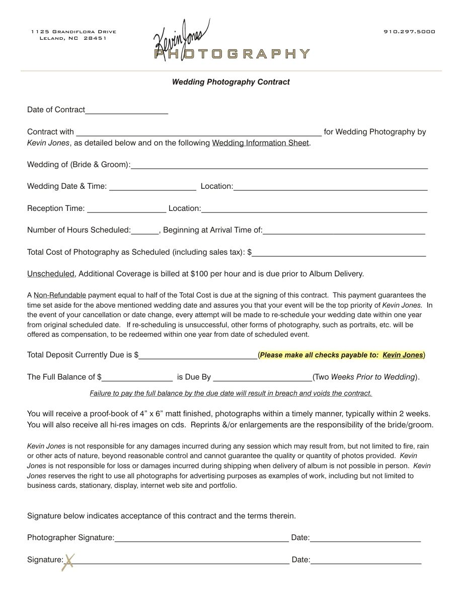 Wedding photography contract kevin jones photography for Photographer contracts templates