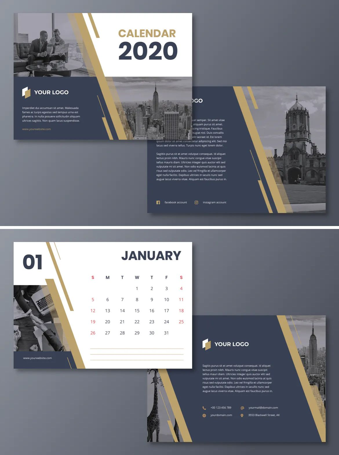 Corporate Calendar 2020 Template PSD, AI, Vector EPS | Calendar