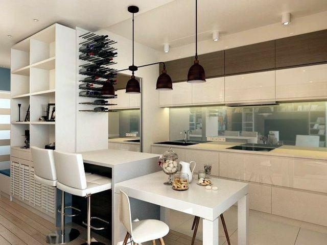 Idées De Cuisine Moderne Avec îlot Bar Ou Table à Manger - Ilot cuisine table a manger pour idees de deco de cuisine