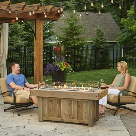 The Vintage Linear Gas Fire Pit Uses Supercast Concrete Planks Which Are Molded From Real Wooden
