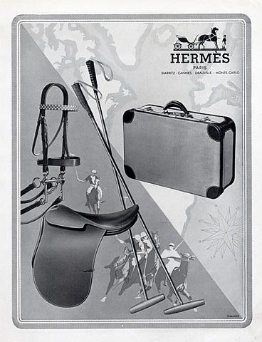 Hermès 1948 Sports equipment & Luggage, Saddle Polo, Suitcase Vintage advert Travel goods | Hprints.com