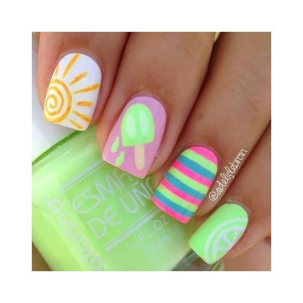 18 Easy Summer Nail Art for Short Nails ❤ liked on Polyvore ...