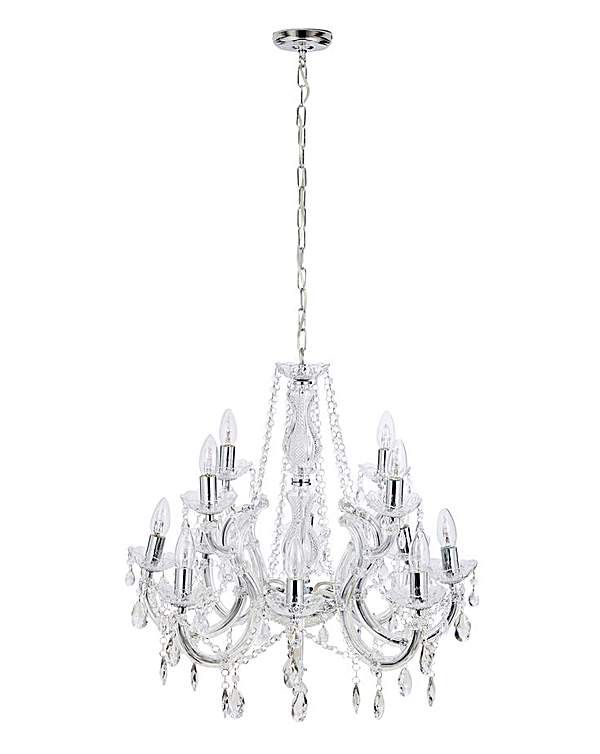 Marie Therese 12 Light Chandelier Glass Column