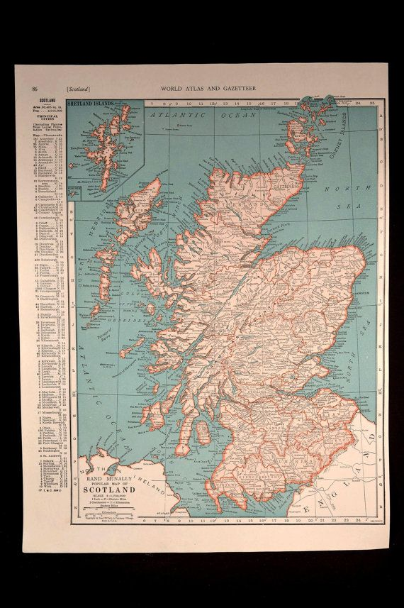Scotland Map Scotland Vintage 1940s Original 1945