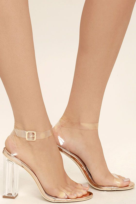 baa577a7301 We can t help but want to strut in the Clear to See Rose Gold Lucite Heels!  Clear lucite forms a slender toe strap