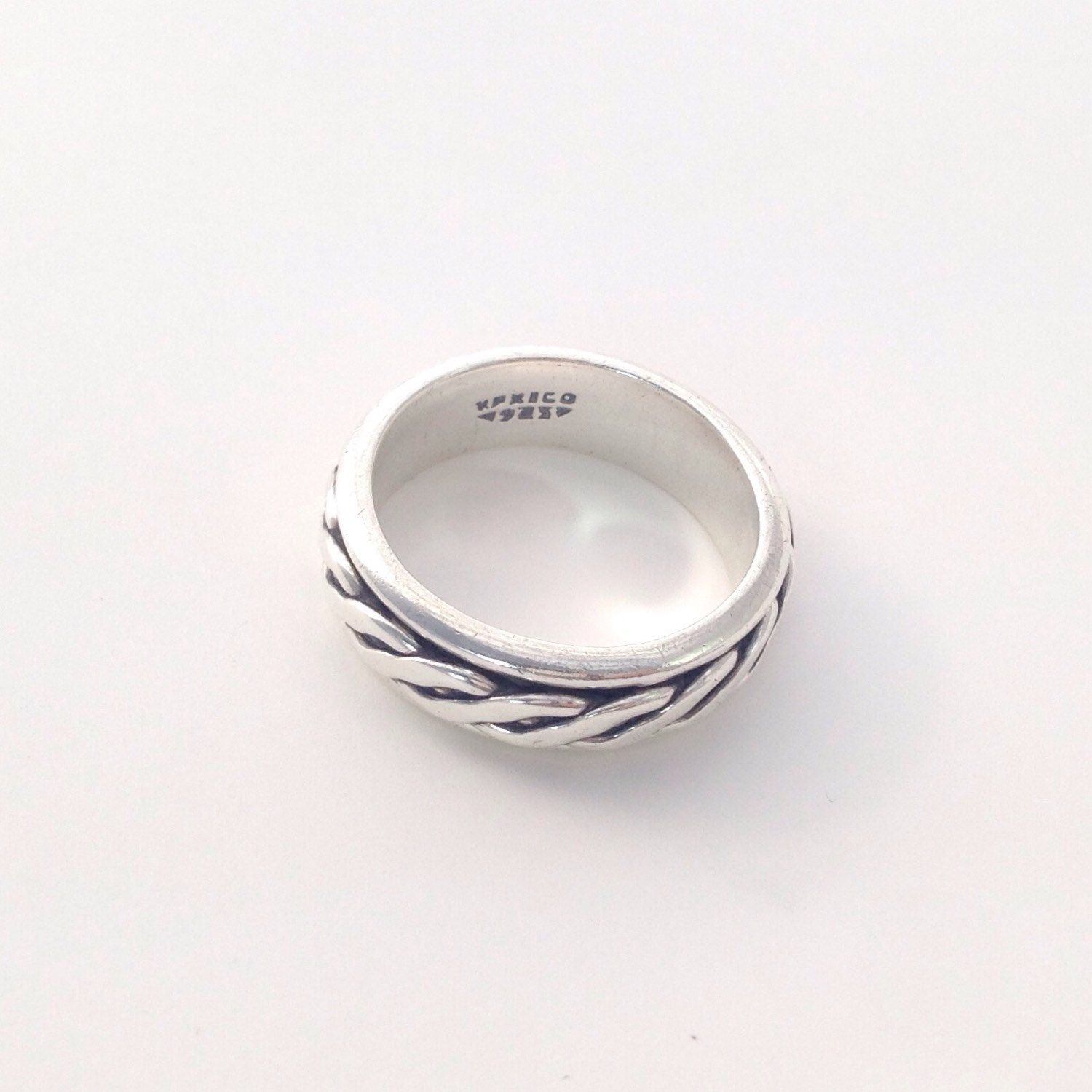 Mens Sterling Silver Band Size 11 Thick Braided Silver Ring