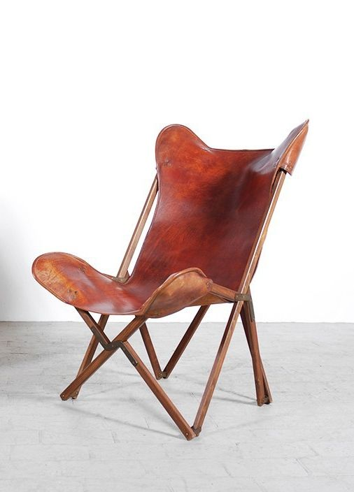 Joseph Fenby Wood Leather And Brass Tripolina Chair
