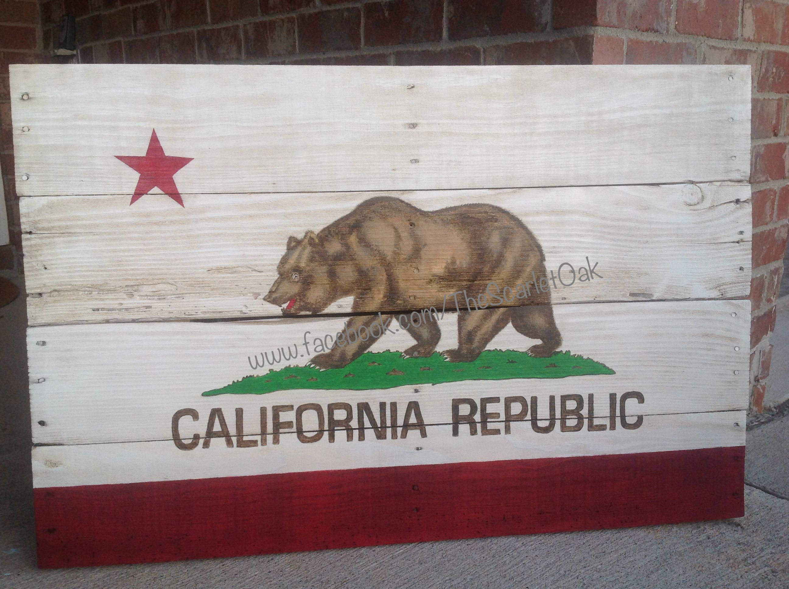 California Republic State Flag 36 X 24 Hand Painted On Reclaimed Pallet Wood Hangable Wall Art California Flag Decor Wall Hanging Wood Wall Hanging