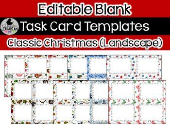 Editable Task Card Templates Classic Christmas Landscape - Task card template