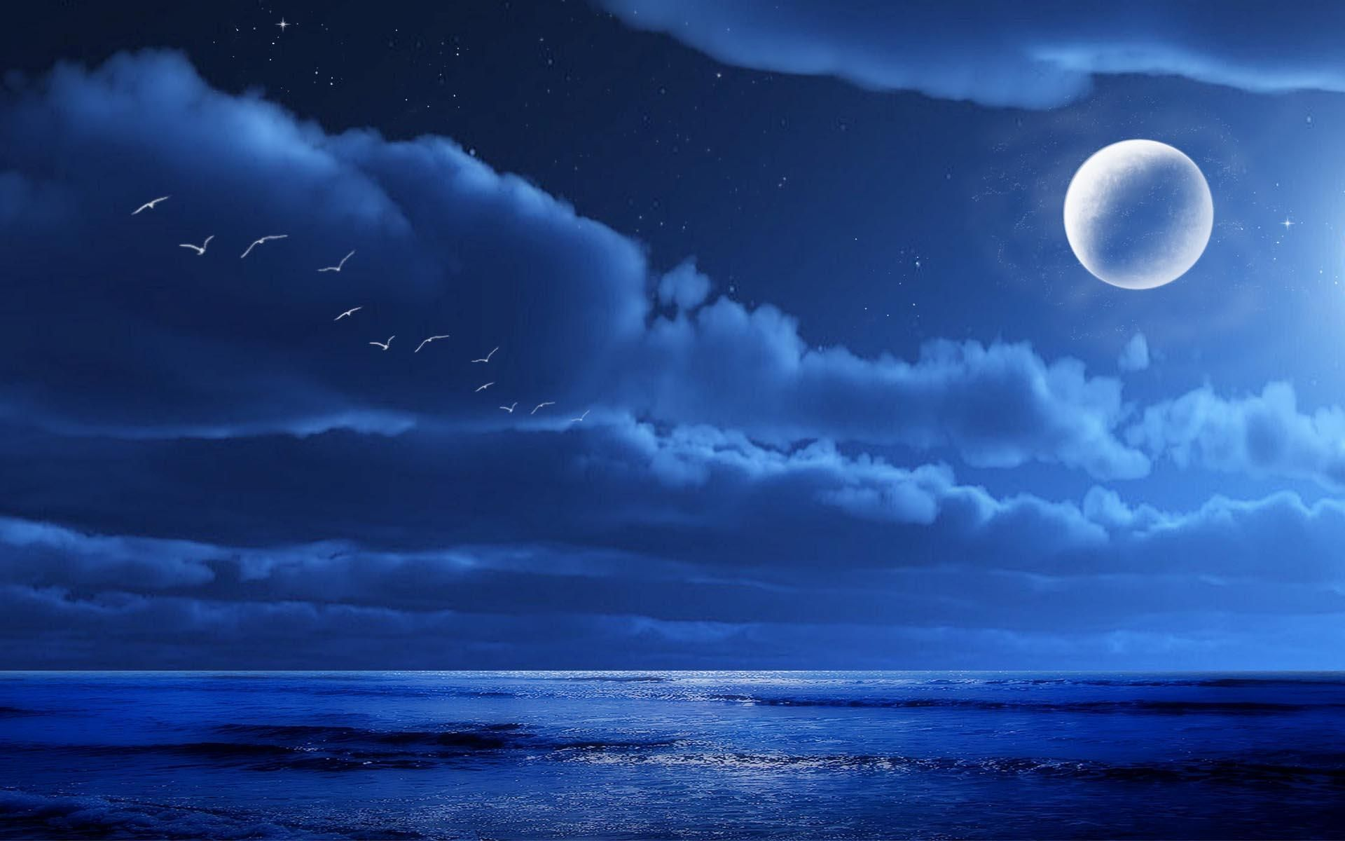 Hd Midnight Moon Wallpaper Anime Scenery Beautiful Landscapes Wallpaper