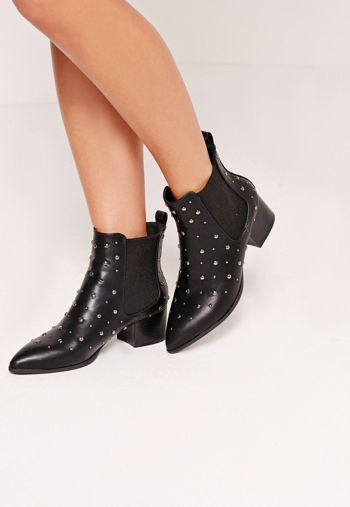 Missguided - Bottines pointues noires cloutées   Boots en 2018   Pinterest    Chaussure, Soulier et Bottines 99a9d6571ecc