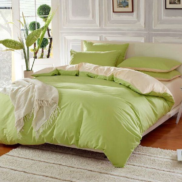 4pcs Suit Green Beige Reactive Dyeing Purified Cotton Bedding Sets Full Queen Size