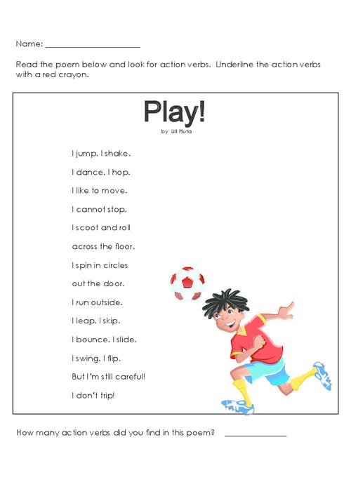 Make action verbs fun with this adorable poem! #actionverbs ...