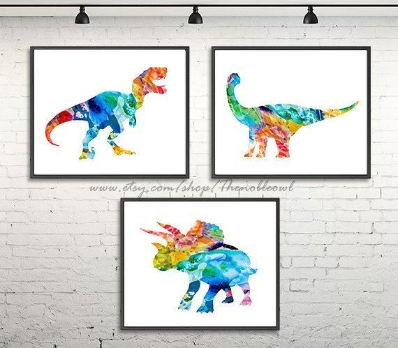 Baby nursery print, watercolor dinosaur, dinosaur art, art print, painting dinosaur, dino illustration, kids room wall, kids art -H155/7