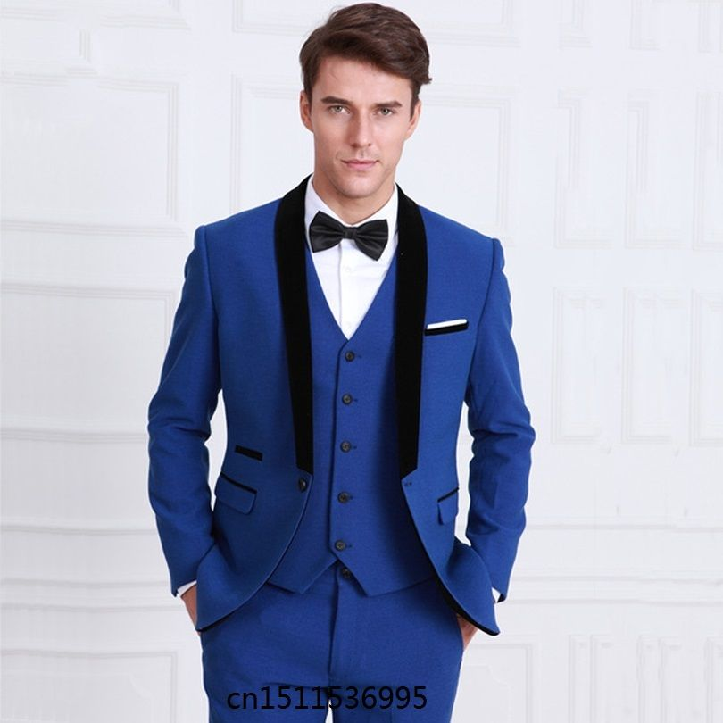 Classic Style Groomsmen Suit One Button Groom Tuxedos Royal Blue Men ...