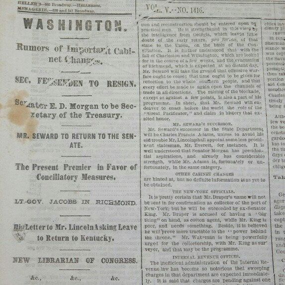 SOLD! New York ' The World ' Newspaper January 5,1865