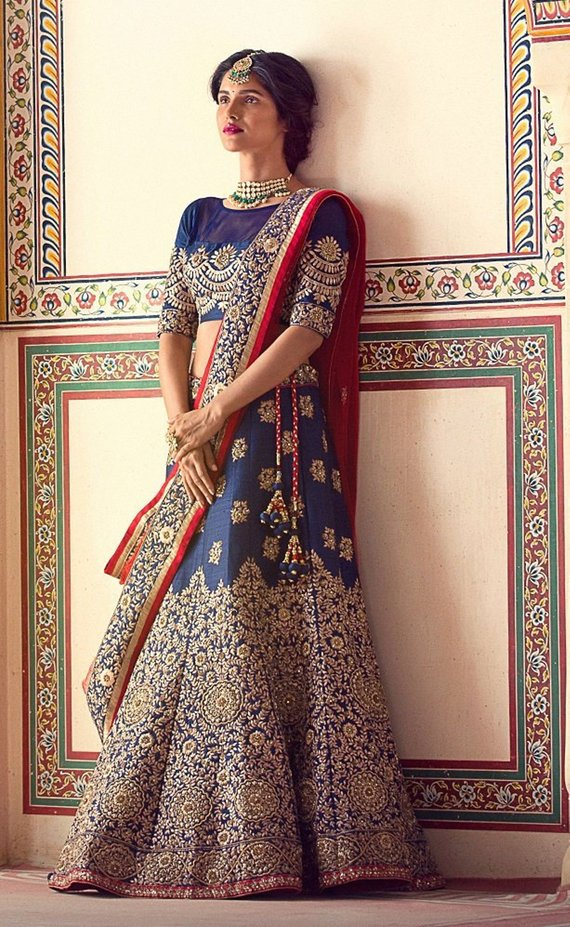Designer Lehenga Choli Wedding Royal Blue Color Indian Lehenga Choli