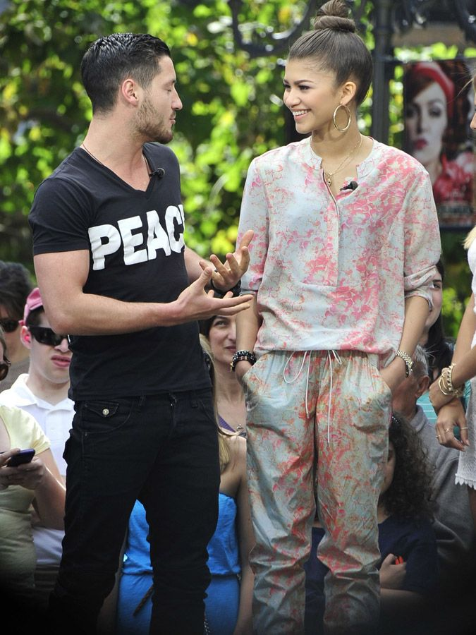 Zendaya Coleman and Val Chmerkovskiy from 'Dancing With the Stars' visit 'Extra' at The Grove in Los Angeles