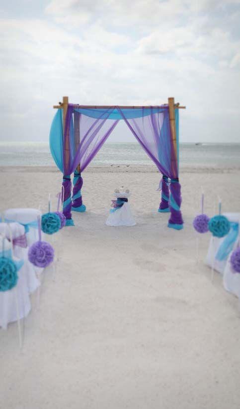 Purple And Turquoise Pomanders Alternate Beach Wedding Purple