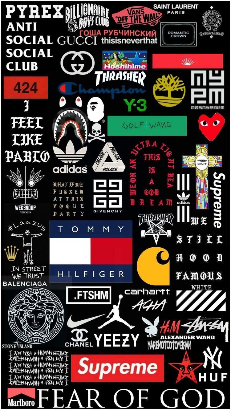 Pretty much all the most hyped up street wear brands tumblr wallpaper wallpaper backgrounds