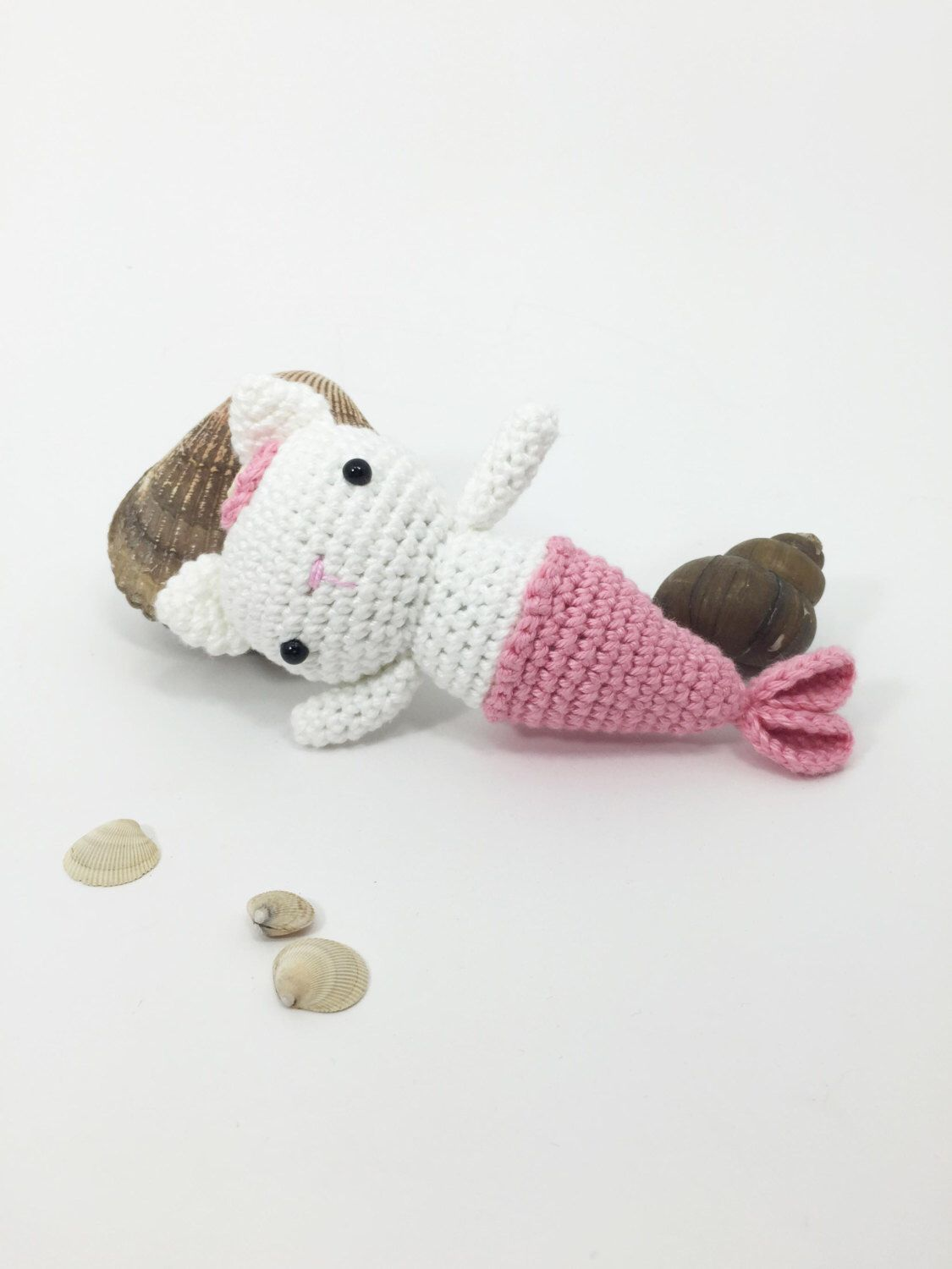 Amigurumi Mermaid Cat, Little Crochet Animal, Stuffed Cat, Amigurumi Cat Doll, Crochet Cat Me... Am