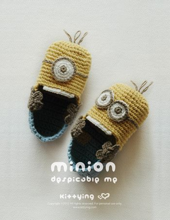 Minion Despicable Me Baby Booties Crochet PATTERN, PDF | PIES ...
