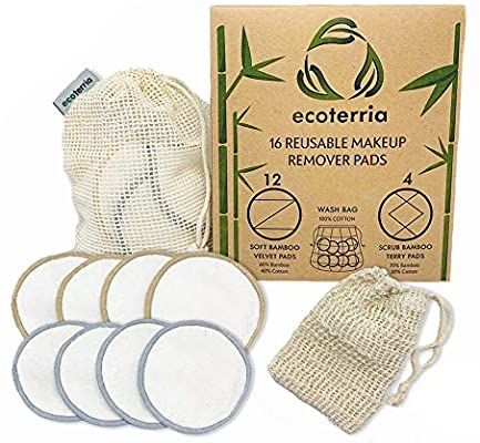 Reusable Make Up Remover Pads – 16 Bamboo Cotton Pads with Laundry Bag – Washable and Eco-Friendly