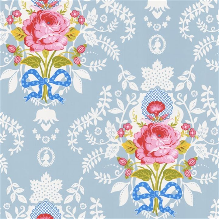 Light Blue Floral Cameo Wallpaper   Pip   AmericanBlinds.com