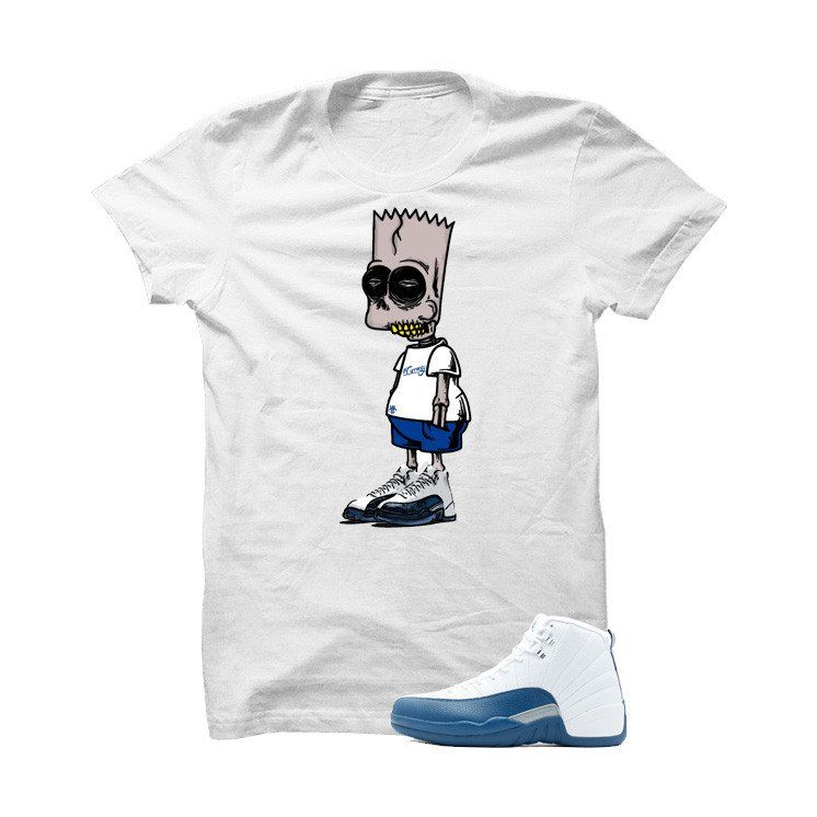 d869d8477266a4 Jordan 12 French Blue White T Shirt (Zombie Bart) - illCurrency Matching  T-shirts For Sneakers