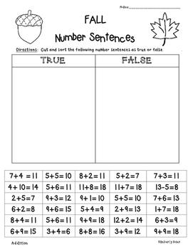 fall true or false number sentences sorting true or false equalities practice 2nd grade. Black Bedroom Furniture Sets. Home Design Ideas