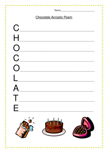 chocolate acrostic poem worksheet bell ringers poems writing poetry worksheets. Black Bedroom Furniture Sets. Home Design Ideas