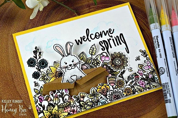 #Repost @inkohoutsdesigns ・・・ Hi there! In celebration of The 30 Day Coloring Challenge hosted by @kathyrac The Honey Bee Stamps team is playing along featuring different styles, mediums, and tips and tricks! Check out @honeybeestamps blog for more details! #30daycoloringchallenge #HBSdesignerchallenge #honeybeestamps #welcomespring #zigcleancolorrealbrush #zen #bunnybuddy #celebrationbox #honeybuddies #springhoneybuddies