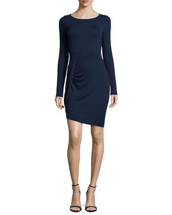 Long-Sleeve Draped Jersey Dress by Three Dots at Neiman Marcus.