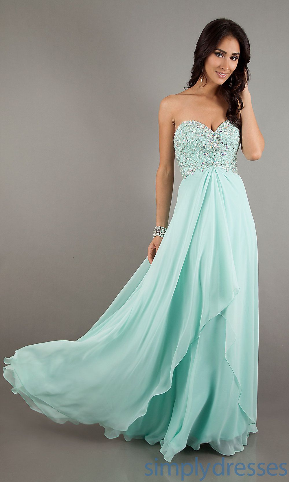 Simple A Line Light Blue Chiffon Lo - Long prom dresses- Gowns and ...