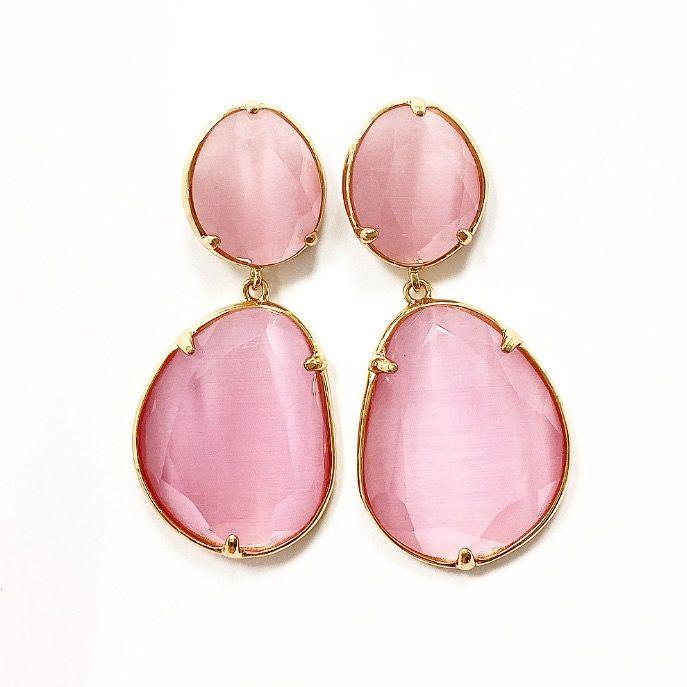 33714f0f9ff6 Pendientes de metal con piedras rosas