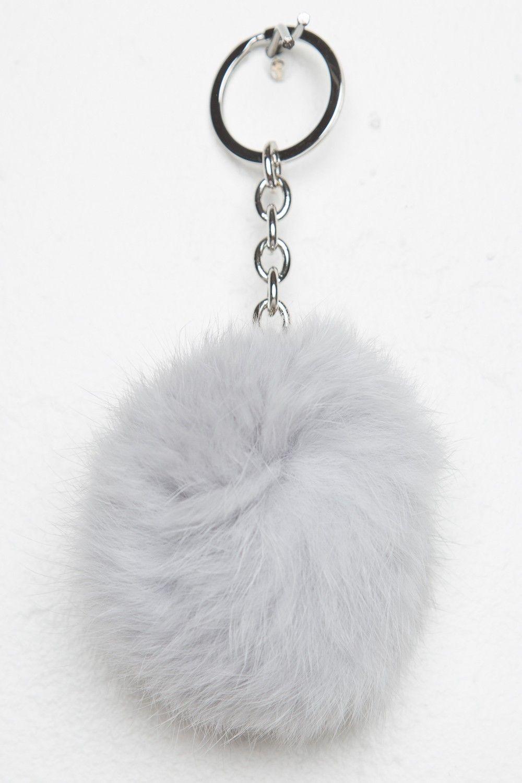 Brandy Melville Light Grey Fur Ball Keychain Accessories