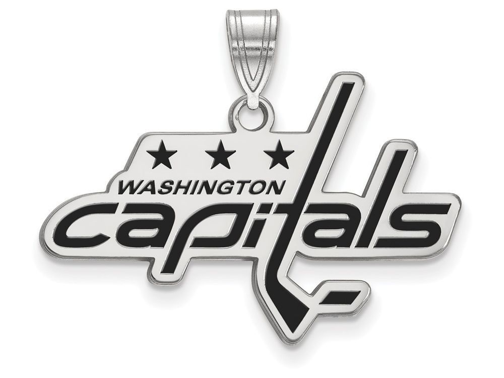 LogoArt Sterling Silver Washington Capitals Large Enamel Pendant Necklace - Chain Included