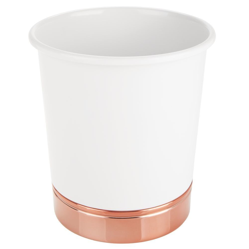 Small Round Metal Trash Can Wastebasket Garbage Bin - Modern Design in White/Rose Gold, by mDesign