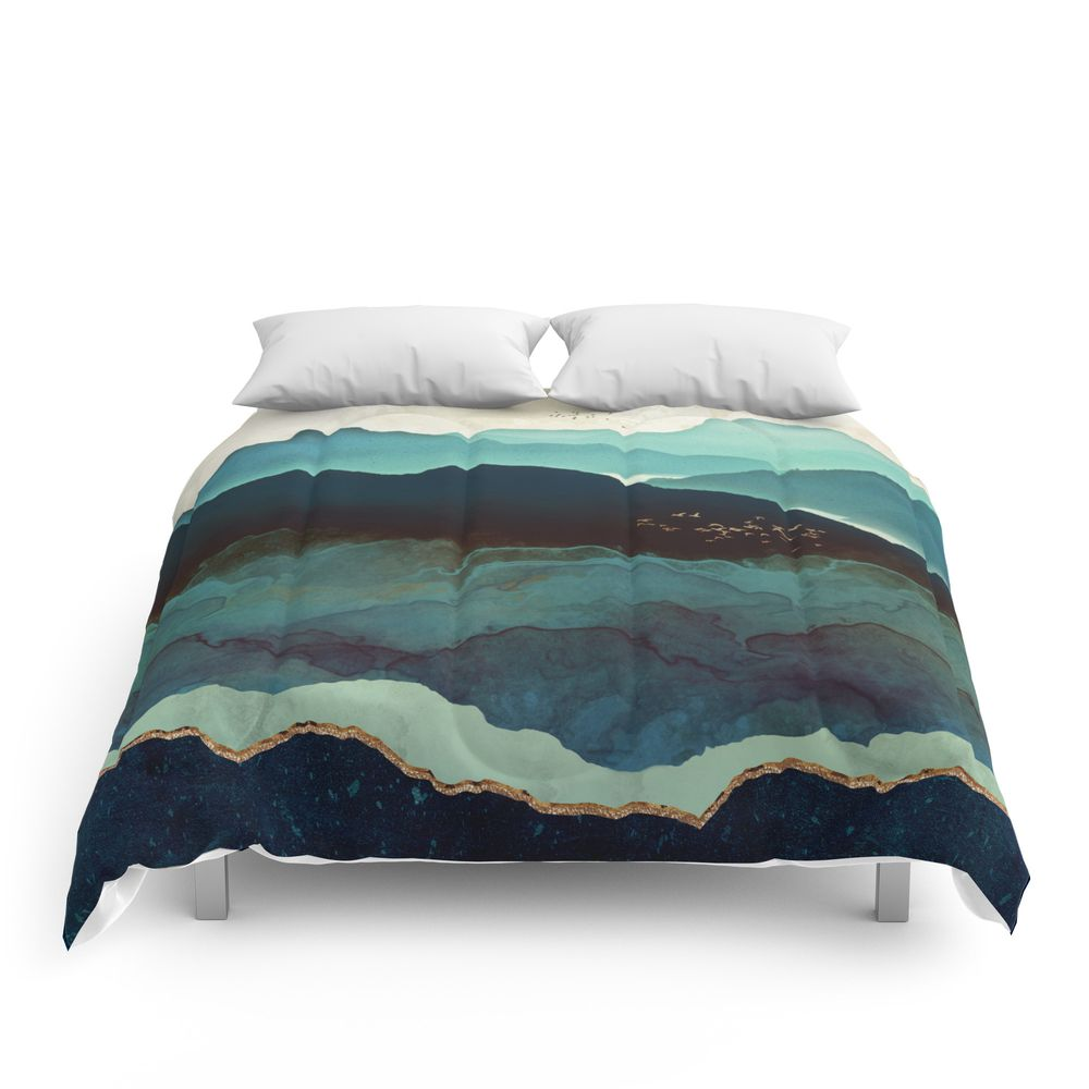 Indigo Mountains Comforter By Spacefrogdesigns Comforters Green