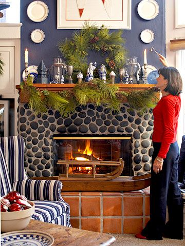 Decorating for Christmas in an Ocean Home Mantels, Hearths and
