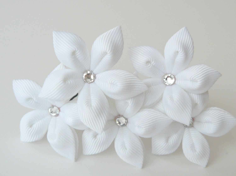 White Flower Hair Pins For Bride Wedding Hair Flowers Bridal Hair