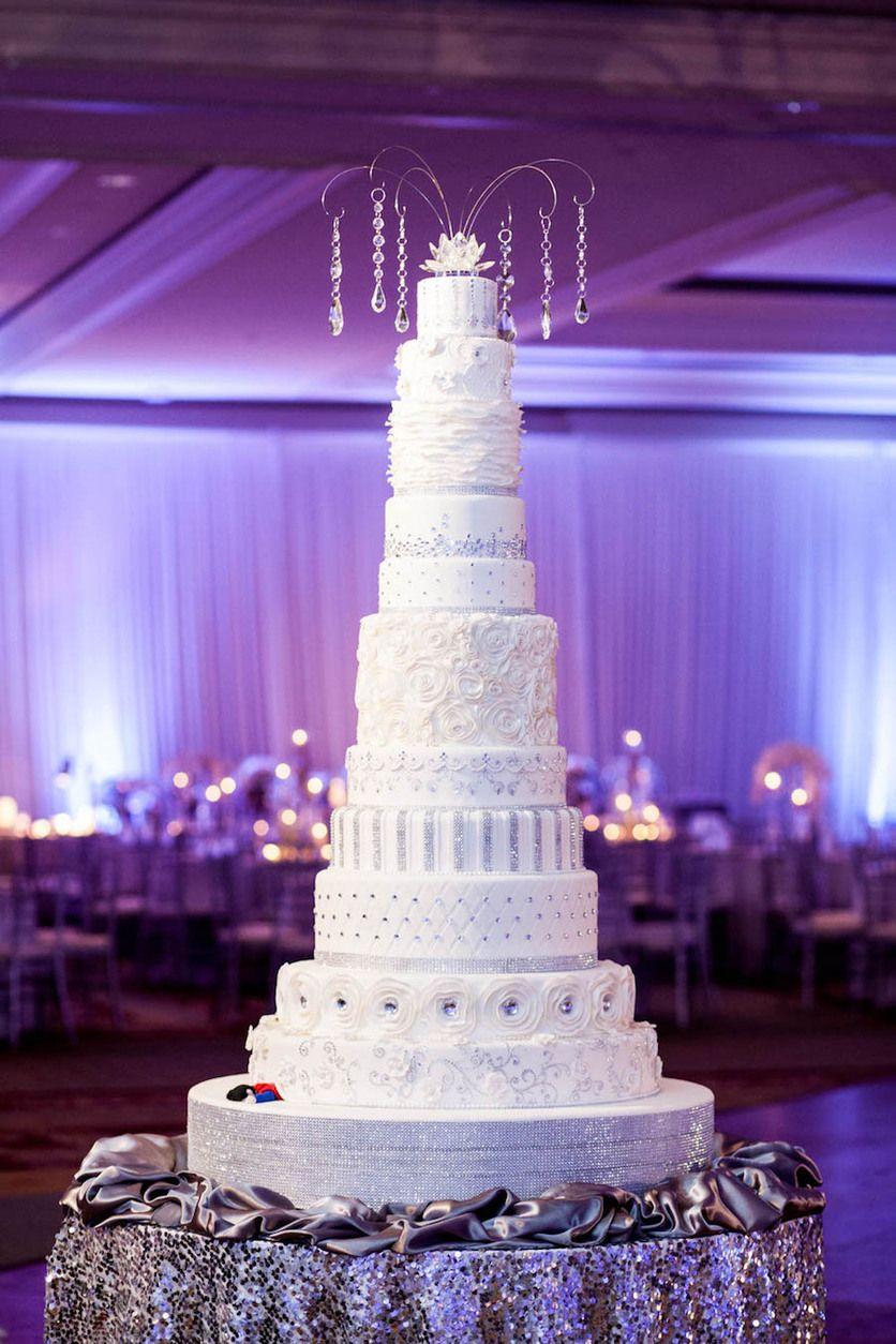 12 Tier Wedding Cake With Sequined Linens Lavish Purple Indian Reception Ritz
