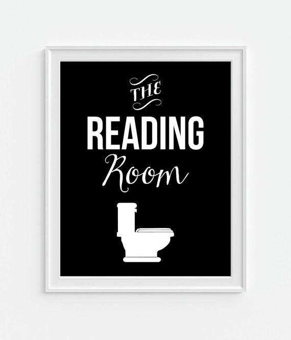 Bathroom decor u0027the reading roomu0027 humorous funny art print bathroom art print black u0026 white